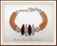 Gold Spiral Coil Beach Glass Bracelet, $30.00