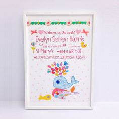 personalised new baby girl print by buttongirl designs | notonthehighstreet.com