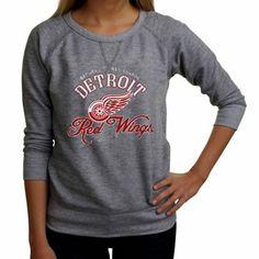 Detroit Red Wings Ladies Vintage Block Script French Terry Sweatshirt - Ash