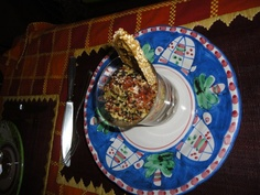 cuscus with raw tunna fish and black bread
