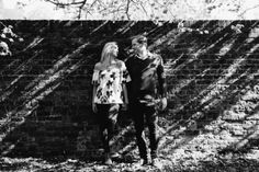 Black and white portrait of couple leaning against a wall during Surrey engagement shoot Pre Wedding Shoot Ideas, Dappled Light, Black And White Portraits, My Favorite Image, Surrey, Engagement Shoots, Wedding Photography, Photoshoot, Couple
