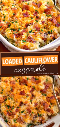Trying to find new ideas for the same old veggies? Forget the potato casserole and make this low-carb, better-tasting version instead! Loaded Cauliflower Casserole is a winner. Even your picky kids will love this scrumptious, keto-friendly side dish! Pin this for later! Califlower Casserole, Baked Cauliflower Casserole, Califlower Recipes, Loaded Cauliflower, Cauliflower Dishes, Potato Casserole, Cabbage Casserole, Broccoli Casserole, Veggie Side Dishes