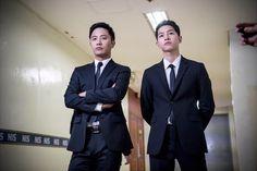 BTS Ep 13 stills ~ HOOYA! Both Captain Yoo and Sergeant Seo in black suits?! Just kill me already   Couch Kimchi  #descendants of the sun #song joong ki #jin goo