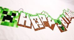 Minecraft Creeper Happy Birthday Banner With by MKCDecorations, $14.99
