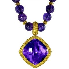 Alex Soldier Sapphire Amethyst Gold Pendant Necklace Enhancer On... ($8,720) ❤ liked on Polyvore featuring jewelry, pendant necklaces, purple, gold pendant necklace, tri color gold jewelry, gold beaded jewelry, amethyst jewelry and 18k gold jewelry