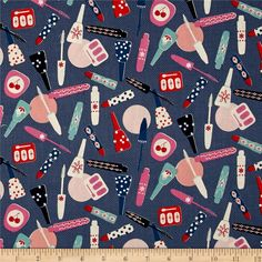 Throw on your party frocks and get ready for a Jubilee! Designed by Melody Miller for Cotton + Steel Fabrics, this cotton print collection features bright colorways with retro flair and metallic/neon accents. Perfect for quilting, apparel, and home decor accents. This print features makeup bottles, tubes, and containers in fun prints and with retro flair. Colors include grey/blue, white, pink, orange, red, navy, and aqua.
