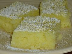 I love angel food cake and I love lemon bars. . .this is perfect Two ingredient Lemon Bars. 1 box angel food cake mix 2 cans lemon pie filling (the recipe originally called for only 1 can) Mix dry cake mix and cans of pie filling together in large bowl (I just mixed it by hand) Pour into greased baking pan. Bake at 350 degrees for 25 minutes or until top is starting to brown. @Victoria Pace