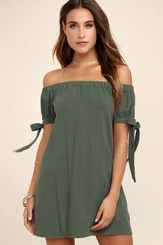 The perfect dinner date starts with the Al Fresco Evenings Olive Green Off-the-Shoulder Dress! An elastic, off-the-shoulder neckline tops a shift bodice with tying, short sleeves. Cute Dresses, Casual Dresses, Floral Dresses, Off The Shoulder, Cold Shoulder Dress, Shoulder Tops, Bow Shorts, Olive Green Dresses, Vacation Dresses