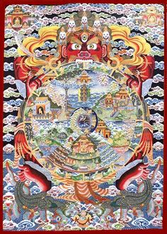 """""""Bound in the Wheel of Becoming, sentient beings wander endlessly through the states of existence; now in the heavens, then in the hells, now torn with passions, then open and receptive. Holding the wheel firmly in his grasp is Yama, Lord of Death, the end of all beings. Only the Buddha stands completely outside the wheel, pointing the way to liberation."""""""
