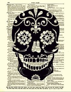 Sugar Skull Dictionary Art Print Black by reimaginationprints, $10.00