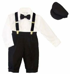 Amazon.com: Infants & Toddlers 5-pc Knickers-length Pants Outfit Tuxedo Style with Velvet Suspenders, Bowtie, Newsboy Cap: Clothing