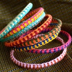 DIY:-> Use simple bangles as a starting point for colorful macramé bracelets.