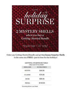 Free Miche shells! Visit my website and build your Getting Started Bundle today!  https://janna.miche.com/Shop?partyId=238123