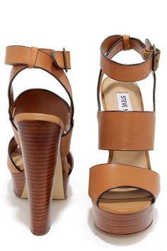 Steve Madden Dezzzy Tan Leather Platform High Heels at Lulus.com!