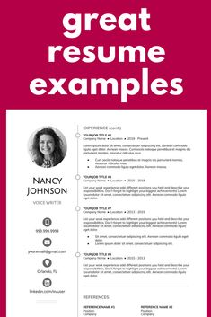 Here are some great resume examples that will have employers wanting to add you to their books! Resume Template Examples, Resume Template Free, Creative Resume Templates, Resume Layout, Resume Design, First Resume, Interview Answers, Great Resumes, Create A Resume