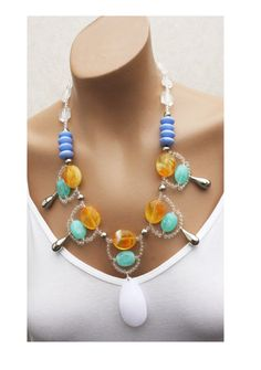 Bright Colorful Statement Necklace Blue Aqua Orange
