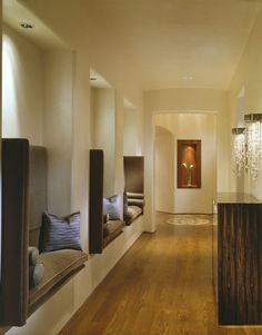 Contemporary Hallway with Laminate floors, Built-in seating