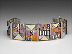 Earl Pardon: Panel Bracelet #1275. Sterling silver, 14 kt gold, enamel, ebony, ivory, spinel, amethyst, mother of pearl