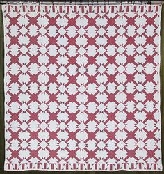 "OUTSTANDING-c1880-ANTIQUE-Turkey-Red-White-QUILT-Graphic - ""T"" block and alternating square"