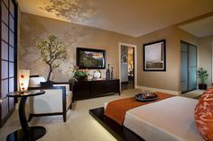 Modern Wall TV and Classic Bedding Furniture Sets in Modern Asian Bedroom Interior Decorating Designs Ideas