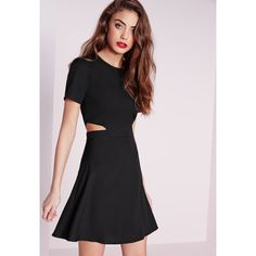 Missguided Short Sleeve Crepe Cut Out Waist Skater Dress ($34) ❤ liked on Polyvore featuring dresses, black, cutout dress, skater dress, short-sleeve dresses, little black dress and short sleeve dress