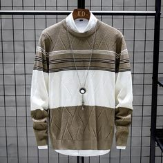 New Fashion Patchwork Round Neck Sweater - mefashionova Sweater Coats, Cotton Sweater, Men Sweater, Sweaters, Wear Store, Sweater Design, Pullover, Casual Fall, Winter