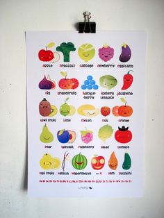 Fruit and Vegetable English Alphabet Poster by MarlaSea on Etsy. $19.00, via Etsy.