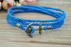 Anchor Bracelet Blue Weave Wax Rope Cuff Bracelet by BeautifulShow, $3.69