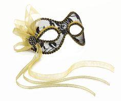 Black N3 Glossy Metal Filigree Phantom Half Face Mask for Venetian Masquerade