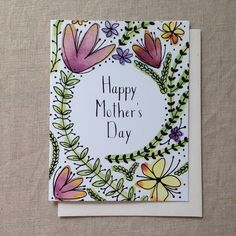 Mother's Day card, watercolor, flowers, Context Studio. Made in Nashville, TN. Hand lettered, hand painted, hand drawn. $4.50
