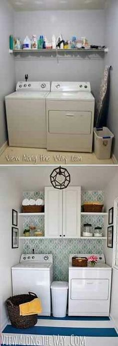 Laundry room idea I like the hamper between the washer and dryer.