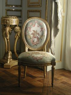 Side Chair (one of a pair)  Jean-Jacques Pothier  ( French   1750, working until ca. 1780)    Date: ca. 1775  Carved and gilded beechwood, silk moire upholstery