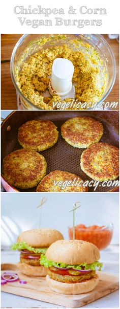 DeliciousDelicious and corn burgers! Great texture and amazing taste!DeliciousDelicious and corn burgers! Great texture and amazing taste!Vegelicacy: Vegetarian and Vegan Recipes Veggie Recipes, Whole Food Recipes, Vegetarian Recipes, Cooking Recipes, Healthy Recipes, Vegan Chickpea Recipes, Vegan Chickpea Burger, Chickpea Patties, Corn Recipes