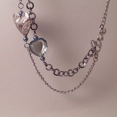 Silver+heart+necklace+//+heart+statement+necklace+by+MynisaUnique,+$25.99
