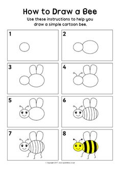 How to Draw a Bee Instructions Sheet - SparkleBox Drawing Lessons For Kids, Easy Drawings For Kids, Art Lessons, Art For Kids, Toddler Drawing, Bee Drawing, Drawing Eyes, Drawing Hair, Basic Drawing