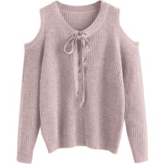 Lace Up Cold Shoulder Chunky Sweater Light Purple featuring polyvore women's fashion clothing tops lavender top lace up front top laced tops open shoulder top lace-up tops