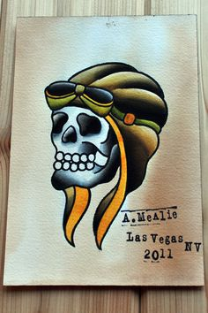 Skull Pilot Hat Tattoo Flash Painting by 34thExp on Etsy, $54.00