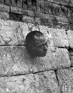 Decapitated head of Communist guerrilla leader Ting Hsi-Shan who was executed by Chinese Nationalists. c.1948