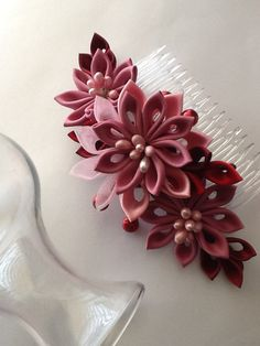 Hair Comb Pink Mauve Dark Pink Wine Red by LihiniCreations