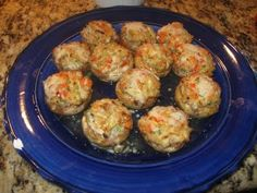 BEST stuffed mushroom recipe :D made with crab. I added shredded cheese and crumbled bacon to the mix and it was amazing!
