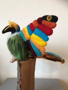Excited to share this item from my shop: Needle Felted Colourful Tropical Bird.Large,bright handmade bird of Paradise.One of a Kind Ornamental Bird. Needle Felted Animals, Felt Animals, Needle Felting, Quirky Gifts, Unusual Gifts, Felt Fox, Felt Gifts, Soft Sculpture, Sculptures