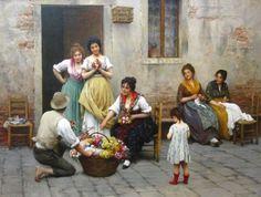 The Venetian Flower Vendor 1901 painting | Blaas, Eugene de | Oil Painting Reproductions