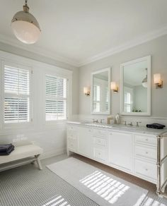 Sutro Architects - bathrooms - Benjamin Moore - Intense White - master bath, master bathroom, white vanity, double vanity, marble counters, ...