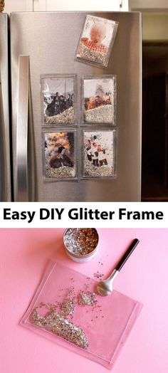 DIY Glitter Photo Frames – A Beautiful Mess Easy (magnetic) glitter photo frames— Working with Canon USA Glitter Picture Frames, Glitter Frame, Glitter Pictures, Glitter Projects, Glitter Crafts, Burlap Projects, Burlap Crafts, Fun Projects, Project Ideas