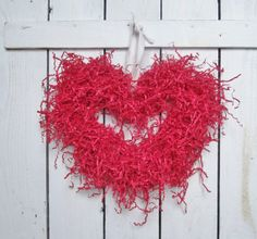 Upcycled Paper Red Heart Valentine Wreath by ThePennyandthePearl,