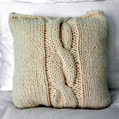 Cable Knit Pillow in Cream by HollyandAlder on Etsy, $36.00