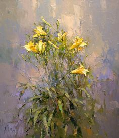 Yellow day-lily - Alexi Zaitsev - Sale of paintings and other art works Classic Paintings, Contemporary Paintings, Abstract Flowers, Watercolor Flowers, Lily Painting, Tree Sketches, Russian Art, Day Lilies, Painting Inspiration