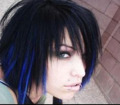 brown hair with blue streaks -