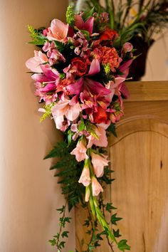gorgeous pink cascading wedding bouquet