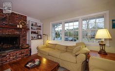 Three new double hung windows we installed in this cozy Long Island living room...